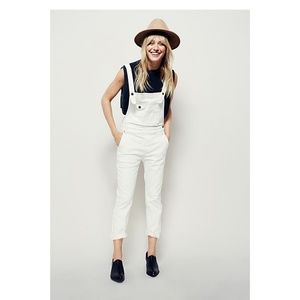 NWOT Free People Washed Denim Overalls Ivory 24